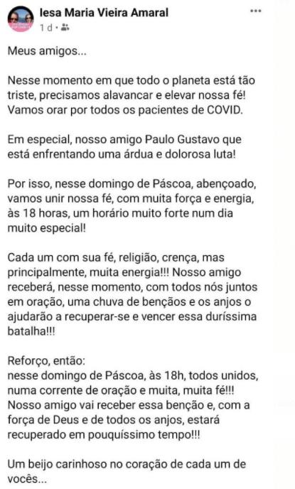 Saiba os detalhes recentes do estado da internação do ator Paulo Gustavo