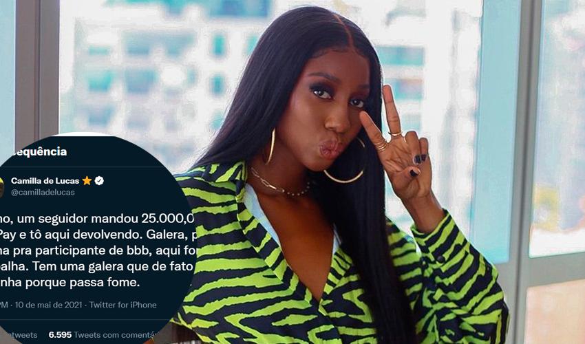 Após receber R$ 25 mil de seguidor, Camilla de Lucas devolve valor e pede para fãs ajudarem quem necessita