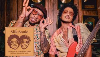 """Bruno Mars e Anderson .Paak divulgam o novo single do Silk Sonic; ouça """"Skate"""""""