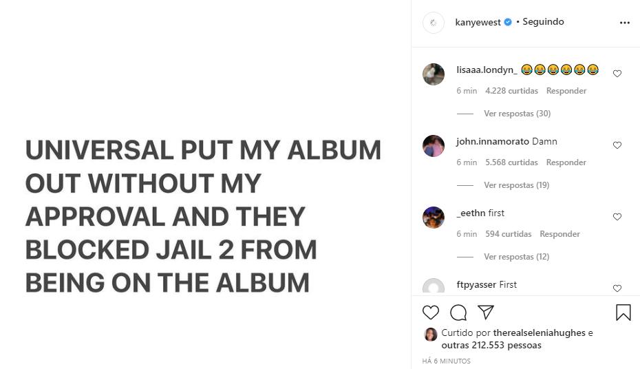 """GENTE? """"DONDA"""" de Kanye West, pode ser retirado das plataformas após rapper acusar Universal Music"""