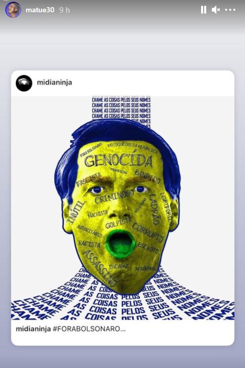"""Após compartilhar foto onde Bolsonaro é chamado de """"gen*c*da"""", Matuê recebe onda de ataques raciais"""