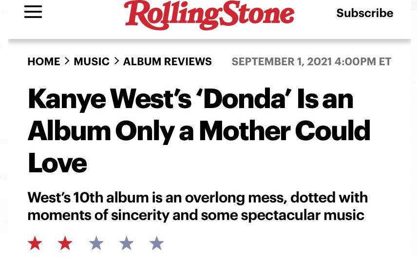 """""""DONDA"""" de Kanye West, vai se confirmando como pior álbum do rapper após crítica da Rolling Stone"""