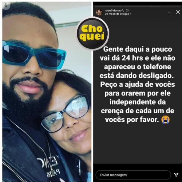Prestes a completar 24 horas de seu desparecimento, mãe de Nego do Borel pede ajuda dos fãs